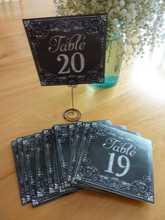 """SET OF # 1-20 CHALKBOARD LOOK PAPER TABLE NUMBERS (5"""" SQUARE)~NEW IN BAG~WEDDING #HisHers"""