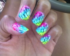 tie dyed animal print. white base. neon brush squigs topped with black detail brush   http://weheartnails.com/