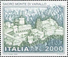 1986 - Monumenti nazionali: Sacro Monte di Varallo - veduta del Sacro Monte con la Chiesa e il Monastero (Piemonte)