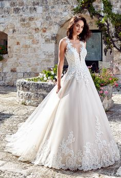 eddy k 2018 bridal sleeveless embroidered strap deep plunging v neck heavily embellished bodice romantic princess a line wedding dress sheer back chapel train (lydia) mv