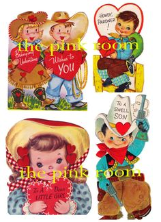 Vintage Valentine Cards, Cowboys Cowgirls Western Kids Digital Collage Sheet, Instant Digital Download YOURS NOW