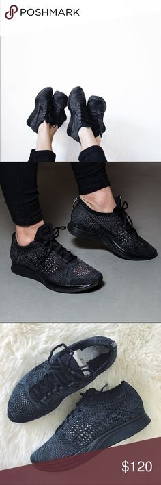 Nike Midnight Flyknit Racer Sneakers •Triple black Flyknit racer sneakers  •Unisex shoe, Men's 5/Women's 6.5. Best for a narrow-normal width foot, will also fit a wide Women's 6.  •New in box, no lid.  •No trades. Nike Shoes Sneakers