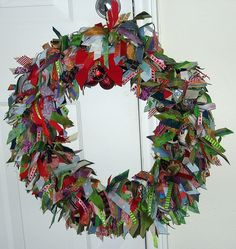 My holiday wreath (which I bought on Etsy years ago) (it would not be complicated to make, just very time-consuming)