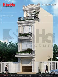 Mẫu nhà ống 4 tầng kiểu pháp 3 Storey House Design, House Front Design, Small House Design, Building Front, Building Facade, Building Elevation, House Elevation, Entrance Design, Gate Design