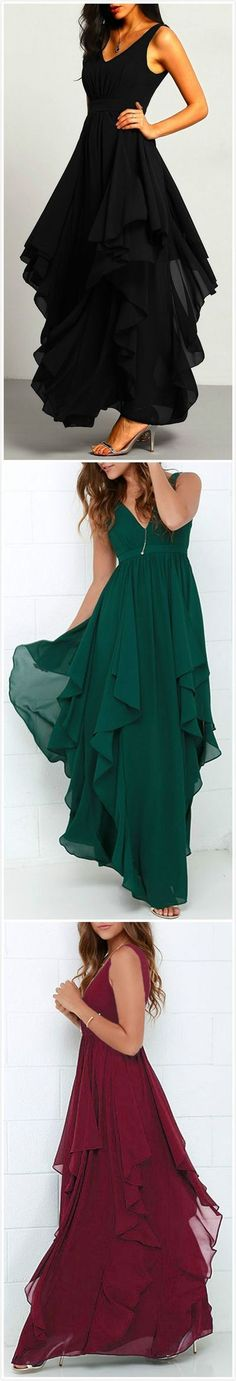 Chic Deep V -Neck Prom Dress,Flouncing Evening Dress,Chiffon Party Dress,Chiffon Prom Dress,358