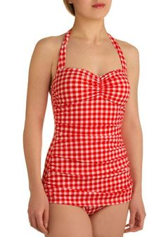 Bathing Beauty One Piece in Cherry Pie   Mod Retro Vintage Bathing Suits   ModCloth.com - StyleSays