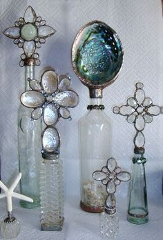 Seashells and vintage bottles