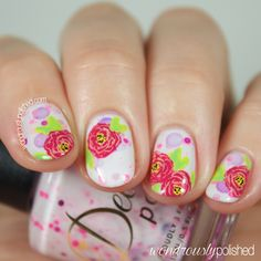 Beautiful hand painted floral nail art by Wondrously Polished over Delush Polish's A Peony For Your Thoughts.