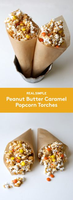 These salty-sweet popcorn cones resemble Olympic torches, making them the perfect snack to serve as you watch the Olympic games. The peanut butter caramel comes together quickly, and Reese's Pieces add an extra pop of color.