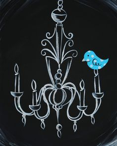 Bird on a chandelier