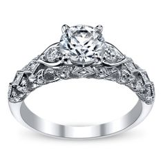 Peter Lam Luxury Royal Lace 14K White Gold Diamond Engagement Ring Setting - Pinned for side holding up diamond.