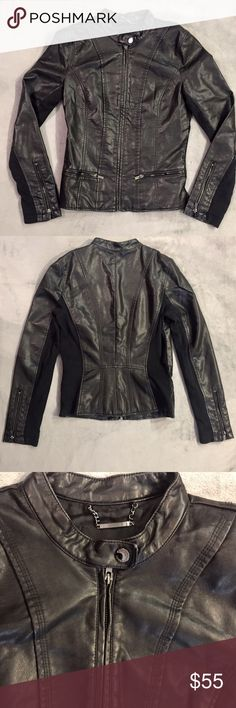 Express faux leather jacket Faux leather jacket from Express. Gently worn. In great condition. Very soft and comfortable. Some wear around some of the corners as seen in the photo with the top button but it adds a nice worn in touch to the leather. Express Jackets & Coats