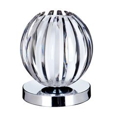 Chrome Touch Table Lamp - Clear, with Frosted Glass