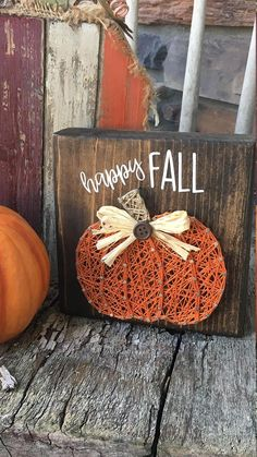 Mini Happy Fall pumpkin string art #craftfall