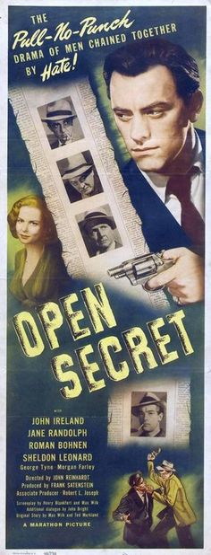 Open Secret (1948) Novel Movies, Old Movies, Classic Film Noir, Classic Movies, Sheldon Leonard, Bogart And Bacall, Open Secrets, James Cagney, Old Movie Posters
