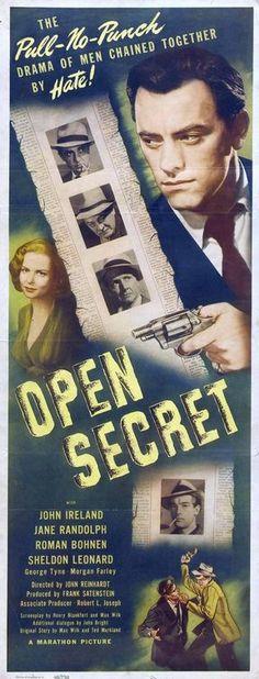 Open Secret (1948) Novel Movies, Old Movies, Classic Film Noir, Classic Movies, See Movie, Film Movie, Sheldon Leonard, Open Secrets, James Cagney