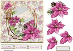 bells and poinsettias 7x7 card with decoupage on Craftsuprint designed by Angela Wake - bells and poinsettias 7x7 card with decoupage and sentiment tags - Now available for download!