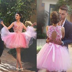 2018 Modest Cocktail Dresses Pink Ruffle Plus Size Formal Quality Sexy Short Tulle Flowers Cheap Backless Party Homecoming Dresses Simple Cocktail Dress, Plus Size Cocktail Dresses, Mint Bridesmaid Dresses, Wedding Dresses, 2016 Homecoming Dresses, Grad Dresses, Short Dresses, Pink Dress, Flower Girl Dresses