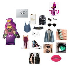 """""""Theta's girl"""" by skykittan360 on Polyvore featuring RVCA, BaubleBar, Calvin Klein, Converse, Music Notes, Lime Crime and NARS Cosmetics"""
