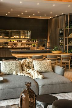 Summer style!! Amazing gorgeous gray and wood modern contemporary kitchen and family room!!