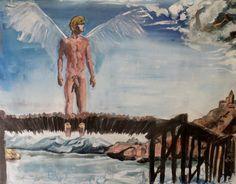 CG-006 - Ange avant la tempête par Cyril Georget ( 40 wide x 29 cm tall ~ 11.75 x 16.25 ) - No 01 de La série Les hommes libres - print 1 of 100 - 12-23-2011