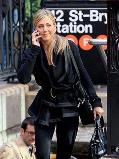 Love how Jennifer belted her 'Wayne' hooded sweatshirt w/faux leather trim.  Her hair is fantastic too....
