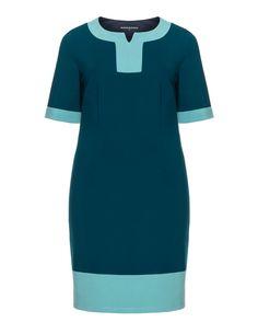 2081d16d40e1 Manon Baptiste Colour blocking shift dress in Petrol   Mint Librarian Chic