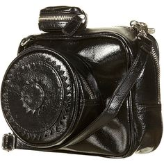Black Patent Camera Shape Bag ($60) ❤ liked on Polyvore featuring bags, handbags, shoulder bags, purses, black, accessories, bolsas, women, shoulder handbags e strap purse