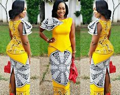 Stylish Yellow Ankara Skirt and Blouse Styles For Ladies.Stylish Yellow Ankara Skirt and Blouse Styles For Ladies