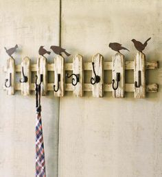 "Wood Picket Fence Wall-Mount Coat Rack With Birds #PS7275;   48""L x 6-1/2""D x 15""H $134.95"