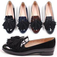 NEW Womens Patent leather Loaper Handmade leather shoes&beatiful 4tassel  #HandmadeBomNavi #LoafersMoccasins