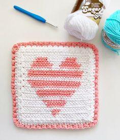 Crochet Heart Blanket, Crochet Blanket Patterns, Crochet Crafts, Crochet Projects, Crochet Waffle Stitch, Crochet Hot Pads, Crochet Dishcloths, Chrochet, Modern Crochet Patterns