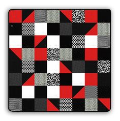 """Do you have somebody you know who is so loveable .. but just a little bit sassy?   Well, we have the perfect snuggler that just might help cure the sassies!   This snuggler features the coziest Minky and Cuddle Shannon Fabrics in Black and Whites, a little gray and some sassy red.   Measures 72"""" Square.   Your sassy one will get so cozy under this, she'll certainly not even have a hint of sassy while under it's spell!  The quilt kit includes all of the fabric required to complete the quilt…"""
