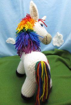 Rainbow Donkey / Unicorn Crochet Pattern by Squirrel Picnic - Sandy Gillett - Crochet Unicorn Pattern, Crochet Horse, Crochet Deer, Crochet Animals, Crochet Stitches Patterns, Crochet Patterns Amigurumi, Crochet Dolls, Knitting Patterns, Cute Unicorn