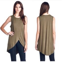 ❗️LAST ONE❗️ Chic Olive Split Front Basic Fall Top Really amazing top that's perfect for layering under necklaces or vests or especially leather jackets for the fall! Size L, last one! Will fit 10-14. Tops Blouses
