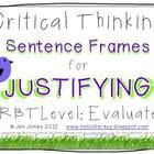 Critical Thinking Language Sentence Frames {Say What?} Aligned to Common Core - Jen Jones-Hello Literacy Thinking Stems, Thinking Skills, Critical Thinking, Reading Resources, Reading Strategies, Teaching Reading, Vocabulary Strategies, Math Resources, Teaching Ideas