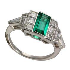 Emerald and Diamond Deco Ring 1940 USA