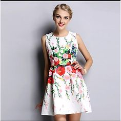 Jacquard Floral Printed Sleeveless Dress