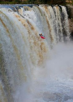 For some reason Fred never came back from his kayak trip! Kayak Adventures, Outdoor Adventures, White Water Kayak, Risky Business, Living On The Edge, Kayaking, Canoeing, Canoe And Kayak, Beautiful Waterfalls