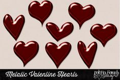 Metallic Red Valentine Hearts by Robyn Gough Designs on Creative Market