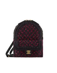 Backpack, knit & gold-tone metal-black & burgundy - CHANEL