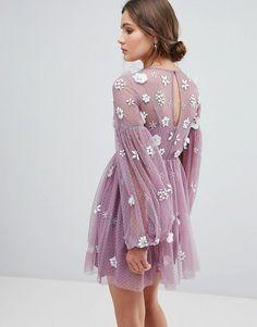 4fc5c3f0aac Bardot Long Sleeve Mini Skater Dress in Polka Dot