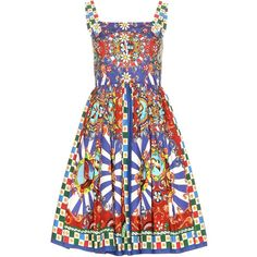 Dolce & Gabbana Embellished Printed Cotton Dress ($1,700) ❤ liked on Polyvore featuring dresses, multicoloured, cotton day dresses, multi-color dress, cotton dress, colorful dresses and multicolored dress