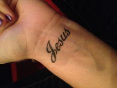 Jesus tattoo on the wrist