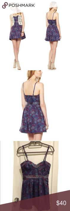 NWT - FREE PEOPLE - Foiled Tapestry Bustier Dress FREE PEOPLE Foiled Tapestry Material purple / blue Bustier Dress - Size 8  NEW WITH TAGS!!  Retail - $148.00 and is SOLD OUT!!  Check out my other listings!! Bundles welcome!! Thank you!!  Free People Dresses Strapless