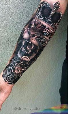 Lion Forearm Tattoos, Lion Head Tattoos, Daddy Tattoos, Forarm Tattoos, Mens Lion Tattoo, Forearm Tattoo Men, Leg Tattoos, Arm Band Tattoo, Body Art Tattoos