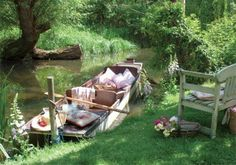 rowboat stocked for a picnic