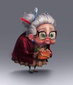 Sylvia Tufano and Pixar. Cartoon Drawings, Cartoon Art, Cartoon Characters, Art Drawings, Character Design Animation, Character Art, Character Illustration, Children's Book Illustration, Old Lady Cartoon