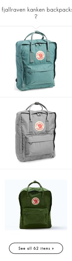 """""""❖ fjallraven kanken backpacks  ❖"""" by dr0ps-of-jup1ter ❤ liked on Polyvore featuring bags, backpacks, accessories, backpack, fillers, frost green, padded backpack, padded laptop bag, green backpack and laptop bag"""