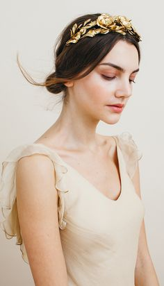 The Rowena Circlet by Jennifer Behr, a golden crown for your wedding day constructed by hand in New York City.